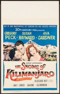 "Movie Posters:Adventure, The Snows of Kilimanjaro (20th Century Fox, 1952). Window Card (14""X 22""). Adventure.. ..."
