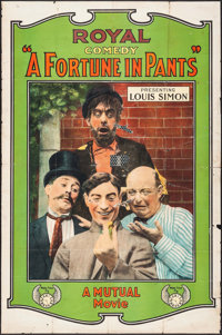 """A Fortune in Pants (Mutual, 1914). One Sheet (27.75"""" X 42""""). Comedy"""