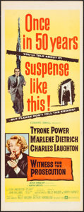 "Movie Posters:Mystery, Witness for the Prosecution (United Artists, 1958). Insert (14"" X36""). Mystery.. ..."