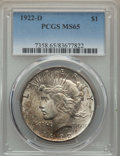 Peace Dollars: , 1922-D $1 MS65 PCGS. PCGS Population: (1288/214). NGC Census:(899/248). CDN: $500 Whsle. Bid for problem-free NGC/PCGS MS6...