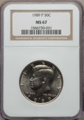 Kennedy Half Dollars, 1989-P 50C MS67 NGC. NGC Census: (58/0). PCGS Population: (50/0)....