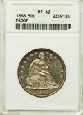Proof Seated Half Dollars, 1866 50C Motto PR62 ANACS. NGC Census: (16/72). PCGS Population: (39/97). Mintage 725. ...