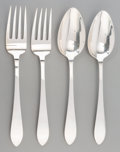 Silver & Vertu:Flatware, Four Tiffany & Co. Silver Serving Pieces, New York, circa 1943-1945. Marks: TIFFANY & CO, STERLING, M, (star). 8-3/4 inc... (Total: 4 )