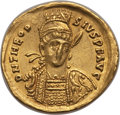 Ancients:Roman Imperial, Ancients: Theodosius II, Eastern Roman Emperor (AD 402-450). AVsolidus (4.07 gm). About VF, clipped....