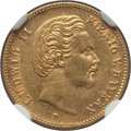 German States:Bavaria, German States: Bavaria. Ludwig II gold 5 Mark 1877-D AU Details(Surface Hairlines) NGC,...