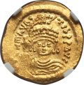 Ancients:Byzantine, Ancients: Maurice Tiberius (AD 582-602). AV solidus (4.41 gm). NGCMS 4/5 - 4/5, light scratch....