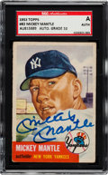 Autographs:Sports Cards, Signed 1953 Topps Mickey Mantle #82 SGC Authentic. ...