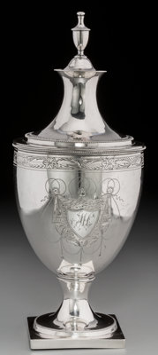 An Early William Garret Forbes Coin Silver Covered Sugar Urn, New York, circa 1790 Marks: W G Forbes, (