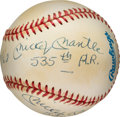 Baseball Collectibles:Balls, Circa 1990 Mickey Mantle Double Signed Baseball with DennyMcLain....