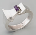 Silver Smalls:Other , An Antonio Pineda Mexican Silver and Amethyst Cuff, Taxco, circa1953-1970. Marks: (Antonio-crown), STERLING, 925, TAXCO...