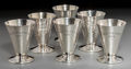Silver Holloware, American:Cups, Six George A. Henckel & Co. Silver Cordials, New York, circa1920. Marks: (logotype), STERLING, 2H. 3 inches high (7.6c... (Total: 6 Items)