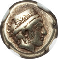 Ancients:Greek, Ancients: LESBOS. Mytilene. Ca. 412-378 BC. EL sixth stater orhecte (2.53 gm). NGC Choice VF 4/5 - 4/5....