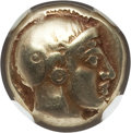 Ancients:Greek, Ancients: LESBOS. Mytilene. Ca. 454-427 BC. EL sixth stater orhecte (2.55 gm). NGC VF 5/5 - 5/5....