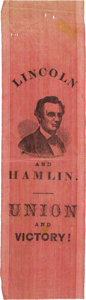 Political:Ribbons & Badges, Abraham Lincoln: Folksy Portrait Campaign Ribbon....