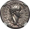 Ancients:Roman Imperial, Ancients: Tiberius (AD 14-37). AR denarius (3.73 gm). NGC Choice VF5/5 - 4/5....