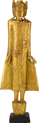 A Connie Francis Tibetan-Style 'Standing Deity' Wood Sculpture, 20th Century