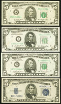 Error Notes:Error Group Lots, $5 Errors Fine or Better.. Misaligned Back Printing Error Fr. 16531934C Wide Face Silver Certificate; . Obstruction E... (Total: 4notes)