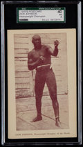 """Boxing Cards:General, Rare C. 1910's """"Heavyweight Champion"""" Jack Johnson Postcard SGC 40VG 3 - The Only Graded Example! ..."""