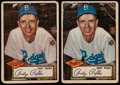 Baseball Cards:Lots, 1952 Topps Andy Pafko (Black Back) #1 Lot of Two (2)....