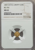 California Fractional Gold , 1859 25C Liberty Octagonal 25 Cents, BG-702, R.3, MS63 NGC. NGCCensus: (12/59). PCGS Population: (45/95). ...