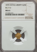 California Fractional Gold , 1870 25C Liberty Octagonal 25 Cents, BG-713, R.4, MS61 NGC. NGCCensus: (1/14). PCGS Population: (0/79)....