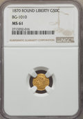 California Fractional Gold , 1870 50C Liberty Round 50 Cents, BG-1010, R.3, MS61 NGC. NGCCensus: (5/40). PCGS Population: (8/134). ...
