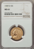 Indian Half Eagles: , 1909-D $5 MS61 NGC. NGC Census: (6216/20646). PCGS Population:(3256/22953). CDN: $405 Whsle. Bid for problem-free NGC/PCGS...