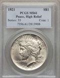 Peace Dollars, 1921 $1 High Relief MS61 PCGS. PCGS Population: (291/12960). NGCCensus: (726/10426). Mintage 1,006,473....