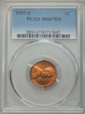 Lincoln Cents: , 1952-S 1C MS67 Red PCGS. PCGS Population: (181/0). NGC Census: (391/0). CDN: $160 Whsle. Bid for problem-free NGC/PCGS MS67...