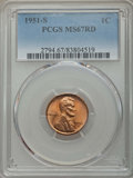 Lincoln Cents: , 1951-S 1C MS67 Red PCGS. PCGS Population: (109/0). NGC Census: (194/0). CDN: $300 Whsle. Bid for problem-free NGC/PCGS MS67...