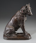 Bronze:European, A Rudolf Marcuse Bronze Figure of a Dog with Johann Heinrich vonZugel Oil on Canvas Portrait of a Dog, circa 1920. Marks to...(Total: 2 Items)