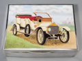 Silver Holloware, British:Holloware, A Deakin & Francis Ltd. Enameled Sterling Silver Humidor withAutomobile Motif, Birmingham, England, 1928. Marks: (lion pass...