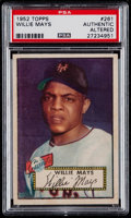 Baseball Cards:Singles (1950-1959), 1952 Topps Willie Mays #261 PSA Authentic. ...