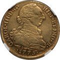 Colombia, Colombia: Charles III gold 8 Escudos 1775 NR-JJ AU Details (Reverse Scratched) NGC,...