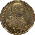 Colombia, Colombia: Charles IV gold 8 Escudos 1792 NR-JJ AU Details (ObverseRepaired) NGC,...