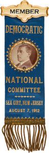 Political:Ribbons & Badges, Woodrow Wilson: A Stunning Large, Pristine 1912-Dated Ribbon Badge. ...