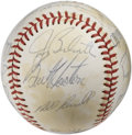 Autographs:Baseballs, 1980 Los Angeles Dodgers Team Signed Baseball. Tom Lasorda's Bumsfrom 1980 are represented here with this team signed ONL ...