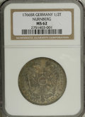 German States:Nurnberg, German States: Nurnberg. Free City 1/2 Taler 1766SR, KM355, K-354, MS62 NGC. Sharply struck with prooflike fields and attractive golden-bro...