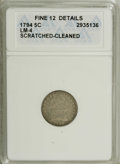 Early Half Dimes: , 1794 H10C --Scratched, Cleaned--ANACS. Fine 12 Details. V-4, LM-4,R.4. The strangely luminous surfaces are pale gray with r...