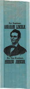 Political:Ribbons & Badges, Lincoln & Johnson: An Unimprovable, Crisp 1864 Campaign Ribbon on Lovely Blue Silk....