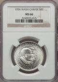 Commemorative Silver, 1954 50C Washington-Carver MS66 NGC. NGC Census: (67/4). PCGSPopulation: (118/3). CDN: $350 Whsle. Bid for problem-free NG...