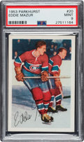Hockey Cards:Singles (Pre-1960), 1953 Parkhurst Eddie Mazur #20 PSA Mint 9 - Pop Five, NoneHigher....