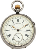 Timepieces:Pocket (pre 1900) , John Taylor, Rochdale Silver Lever With 2 Second Revolution CenterSeconds & Stop Slide, circa 1890. ...