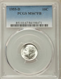 Roosevelt Dimes, 1955-D 10C MS67 Full Bands PCGS. PCGS Population: (54/3). NGC Census: (52/0). Mintage 13,959,000. ...