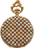 Timepieces:Pocket (post 1900), Swiss Gold & Pearl Miniature Pendant Watch. ...