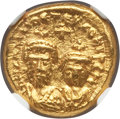 Ancients:Byzantine, Ancients: Heraclius (AD 610-641), with Heraclius Constantine. AVsolidus (4.53 gm). NGC MS 5/5 - 3/5, graffito....