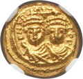 Ancients:Byzantine, Ancients: Heraclius (AD 610-641), with Heraclius Constantine. AVsolidus (4.40 gm). NGC MS 4/5 - 4/5....