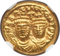 Ancients:Byzantine, Ancients: Heraclius (AD 610-641), with Heraclius Constantine. AVsolidus (4.48 gm). NGC Choice MS 5/5 - 5/5....