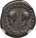 Ancients:Roman Imperial, Ancients: Vespasian (AD 69-79), with Titus and Domitian. AR denarius (2.86 gm). NGC VF 5/5 - 4/5....