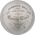 Baseball Collectibles:Others, 1867 Silver Trophy Baseball Presented to Champion Liberty Club of Nyack, New York....